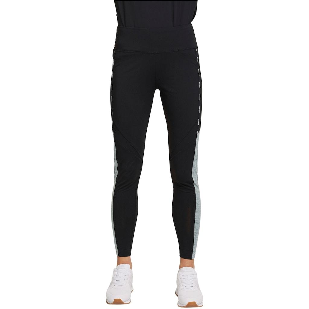 esprit sports Leggings, mit Logoschriftzug und grauem Einsatz an der Seite