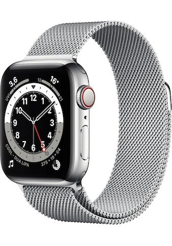 Apple Watch »Series 6 GPS + Cellular, Edelstahlgehäuse mit Milanaise Armband 40mm«, (... kaufen