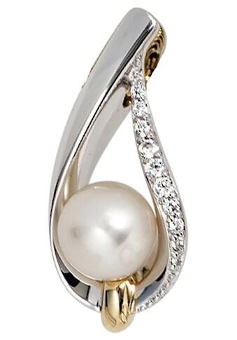 JOBO Perlenanhänger, 585 Gold bicolor 10 Diamanten Süßwasser-Zuchtperle kaufen