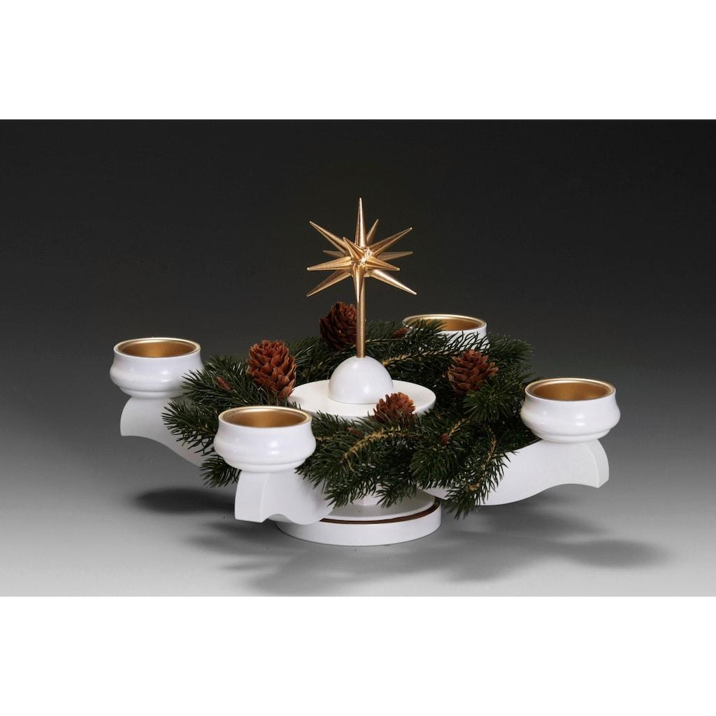 Albin Preissler Adventsleuchter »Weihnachtsstern«, Ø 22 cm, weiß, inkl. Tannenkranz