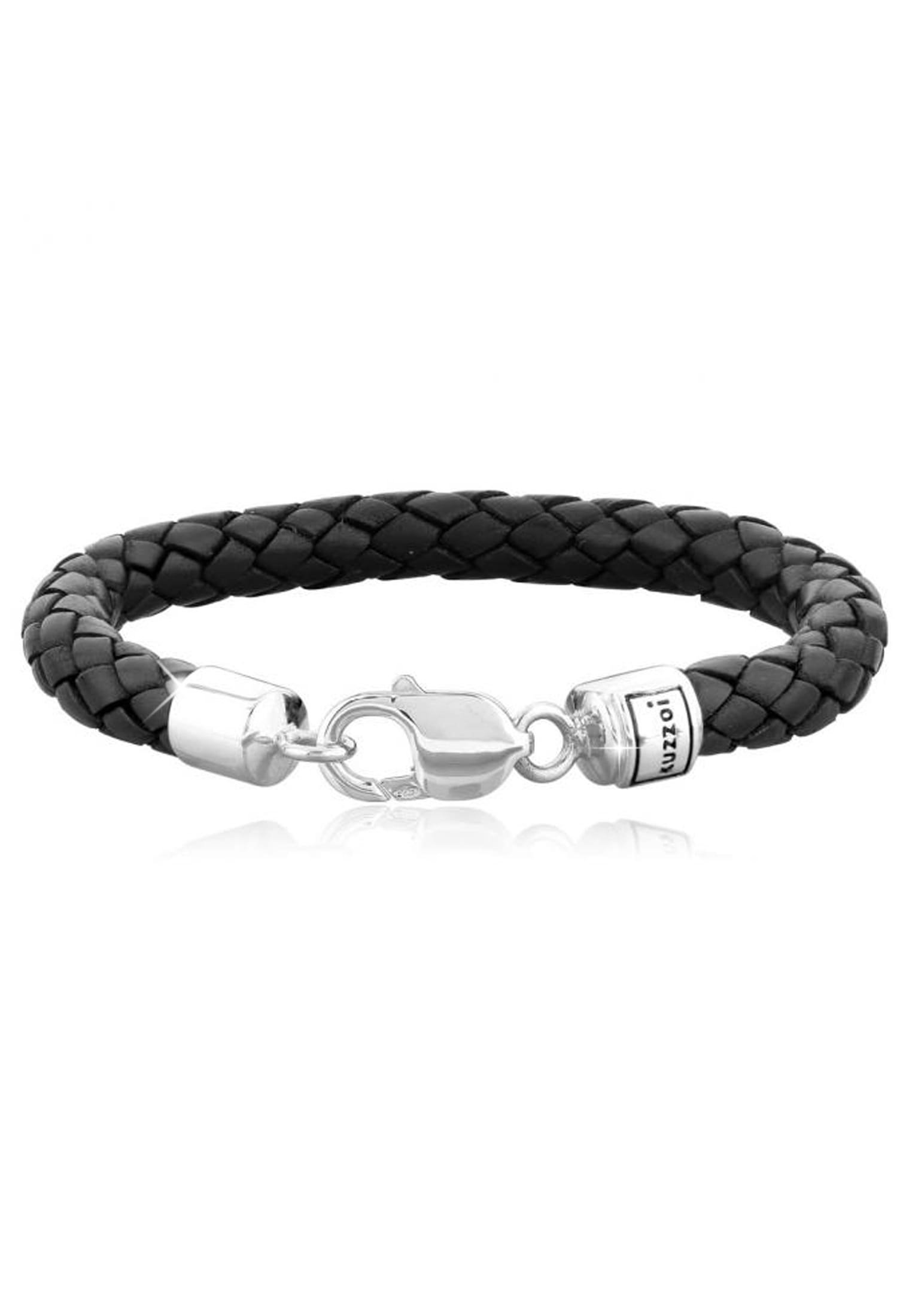Kuzzoi Armband Herren Echtleder Geflochten Karabiner 925 Silber | Schmuck > Armbänder > Silberarmbänder | Leder | Kuzzoi
