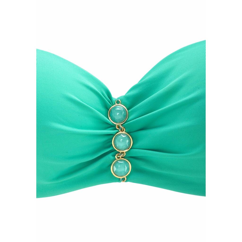 LASCANA Bügel-Bandeau-Bikini, mit edlen Ziersteinen am Cup