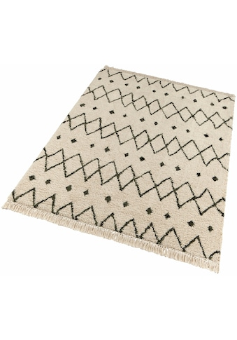 freundin Home Collection Hochflor-Teppich »Calla«, rechteckig, 35 mm Höhe, mit Fransen, Wohnzimmer kaufen