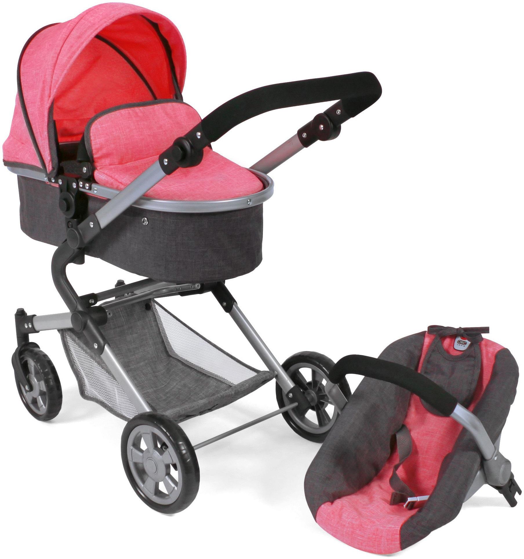 CHIC2000 Kombi-Puppenwagen Lia, anthrazit-pink, mit Puppen-Autositz rosa Kinder Puppenzubehör Puppen