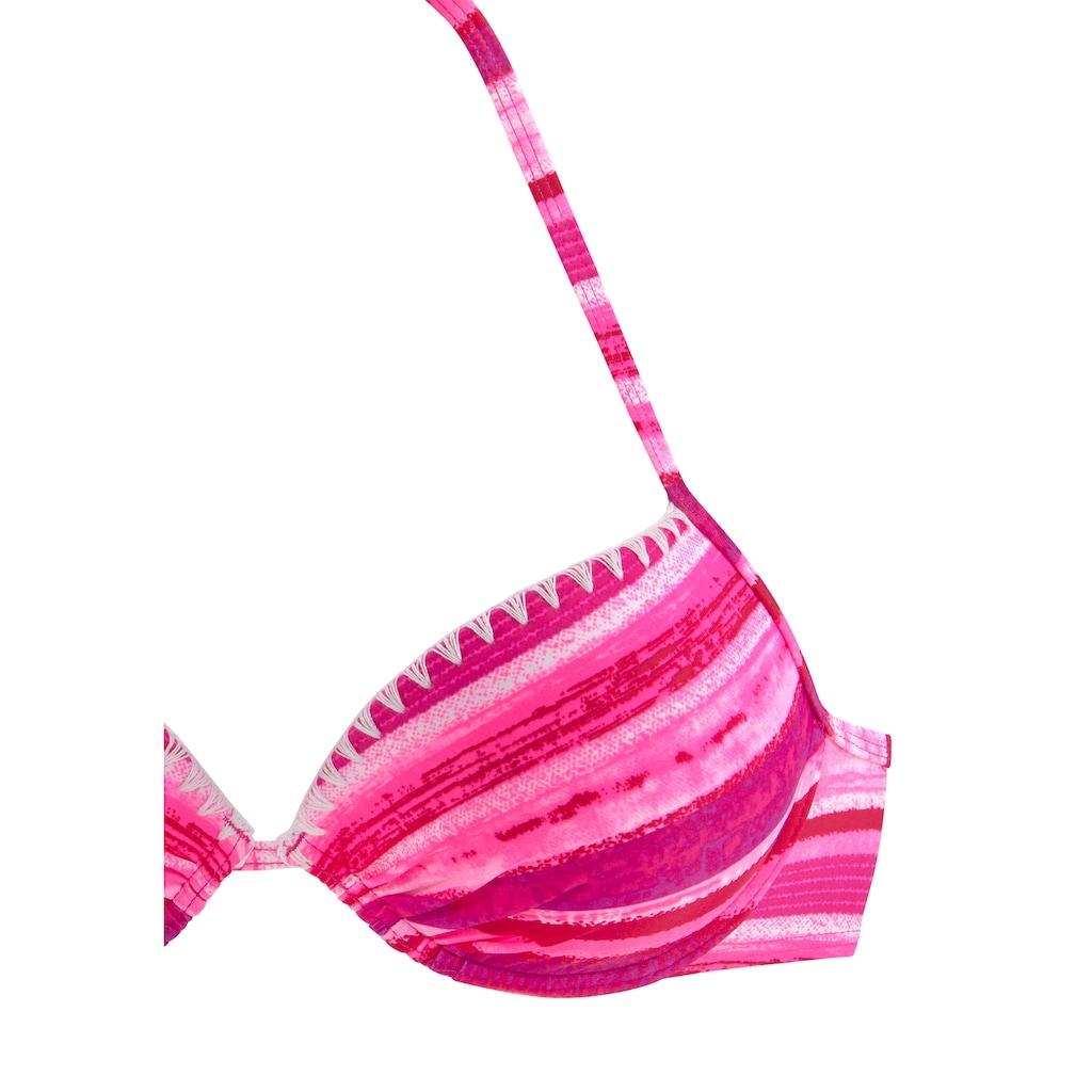 Buffalo Push-Up-Bikini, in Batik-Optik und mit Häkelkante