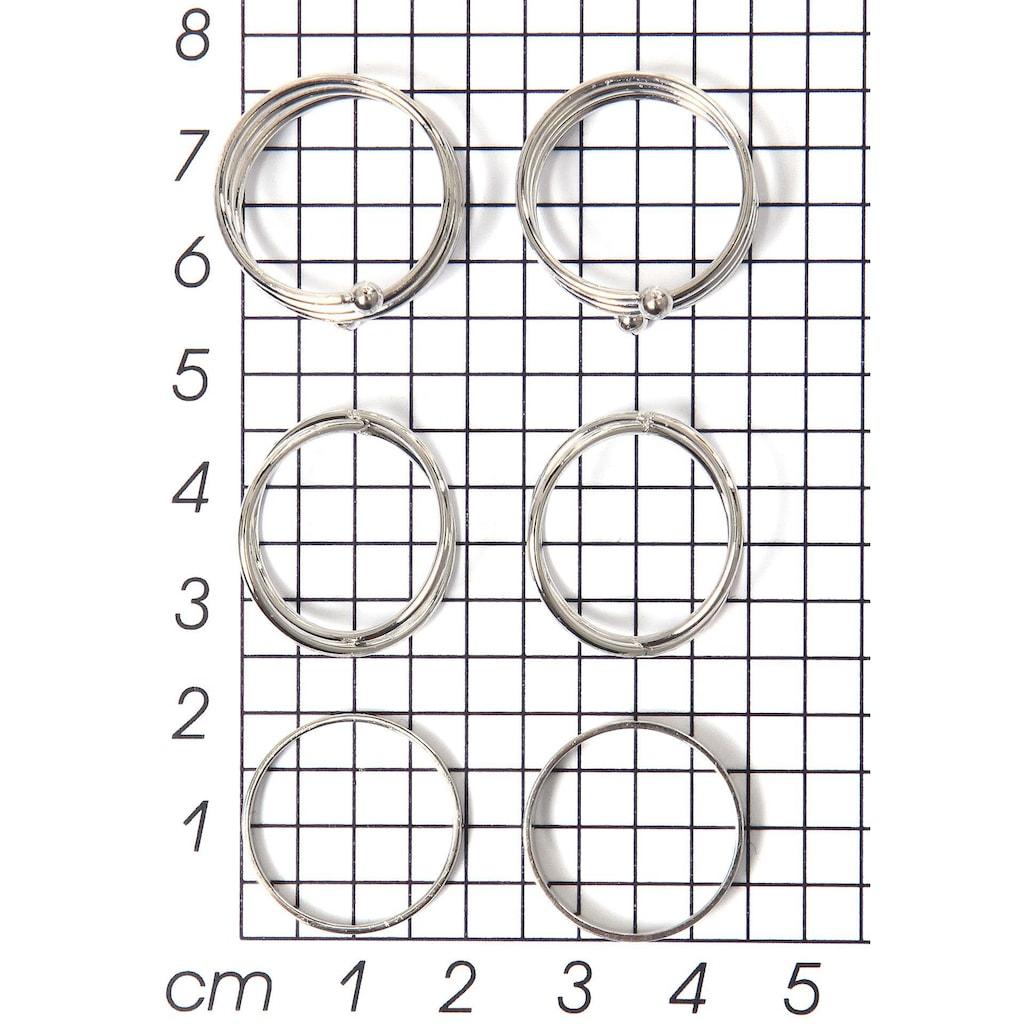 J.Jayz Ring-Set »im teilweise mehrreihigen Design«, (Set, 6 tlg.)