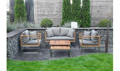 BELLASOLE Loungeset 5 - tlg., 2er - Sofa, 2 Sessel, 2 Tische, Teakholz kaufen