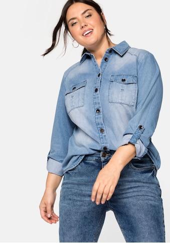 Sheego Jeansbluse, mit Pattentaschen, in leichter Qualität kaufen