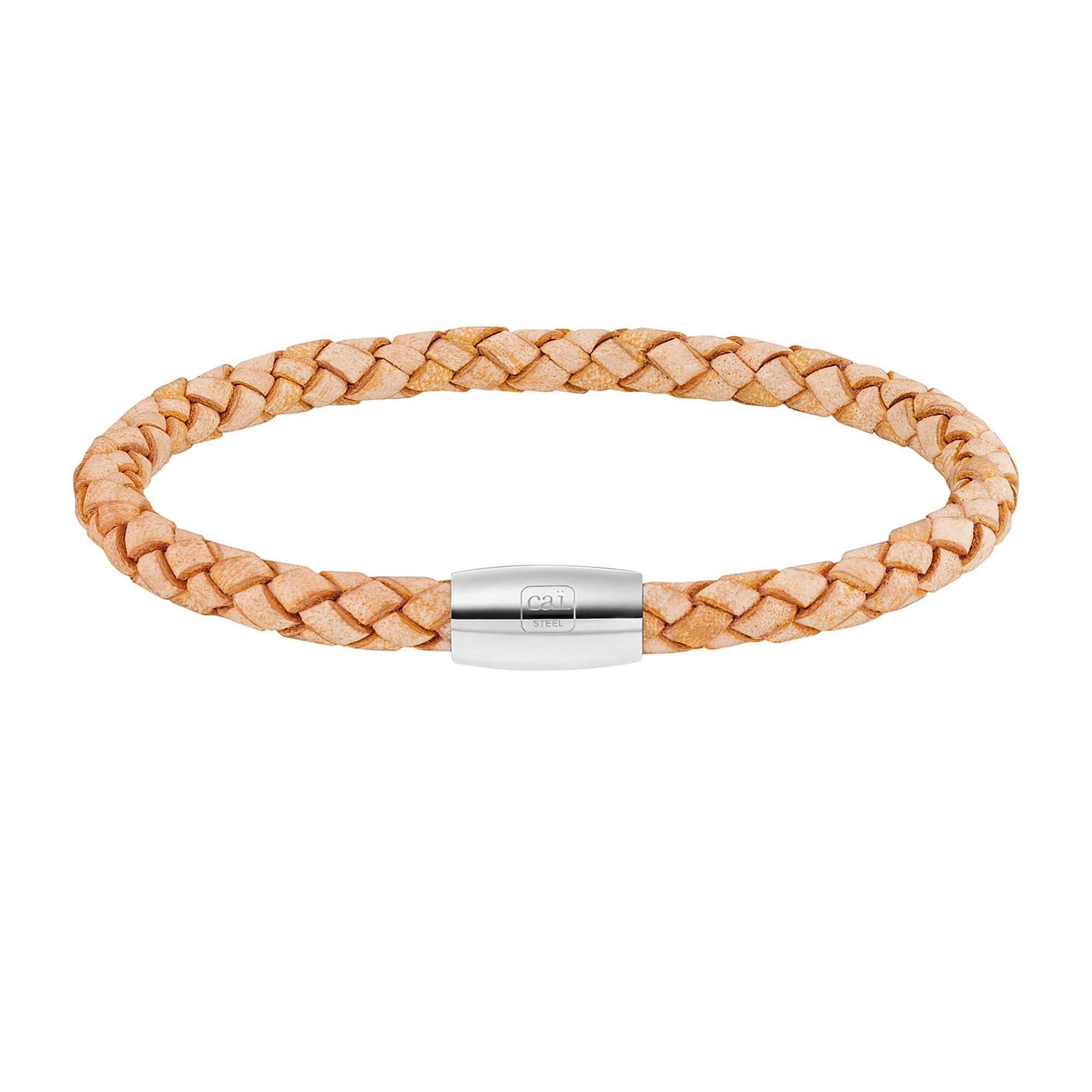 Cai Armband Edelstahl Leder natur 23cm | Schmuck > Armbänder | Braun | Leder | Cai