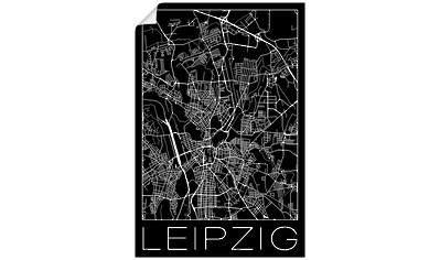 Artland Wandbild »Retro Karte Leipzig Deutschland Schwarz«, Deutschland, (1 St.), in vielen Größen & Produktarten - Alubild / Outdoorbild für den Außenbereich, Leinwandbild, Poster, Wandaufkleber / Wandtattoo auch für Badezimmer geeignet kaufen