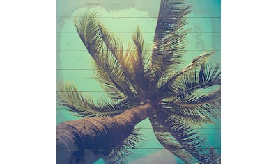 QUEENCE Holzbild »Palmen Himmel«, 40x40 cm Echtholz kaufen