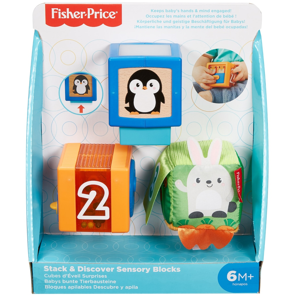 Fisher-Price® Spielbausteine »Babys bunte Tiersteine«, (3 St.)