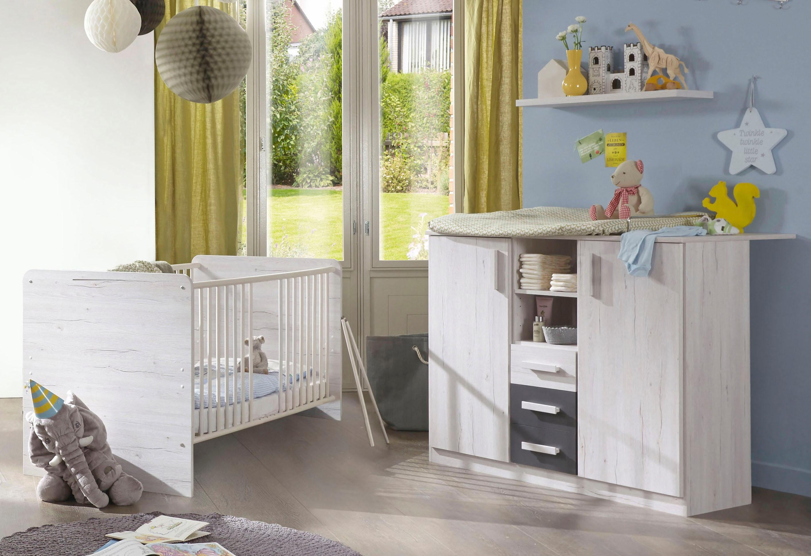 Babyzimmer Spar-Set »Bergamo«, Babybett + Wickelkommode (2-tlg.) in weißeiche NB/ lava | Kinderzimmer > Babymöbel > Komplett-Babyzimmer | Grau | Buche