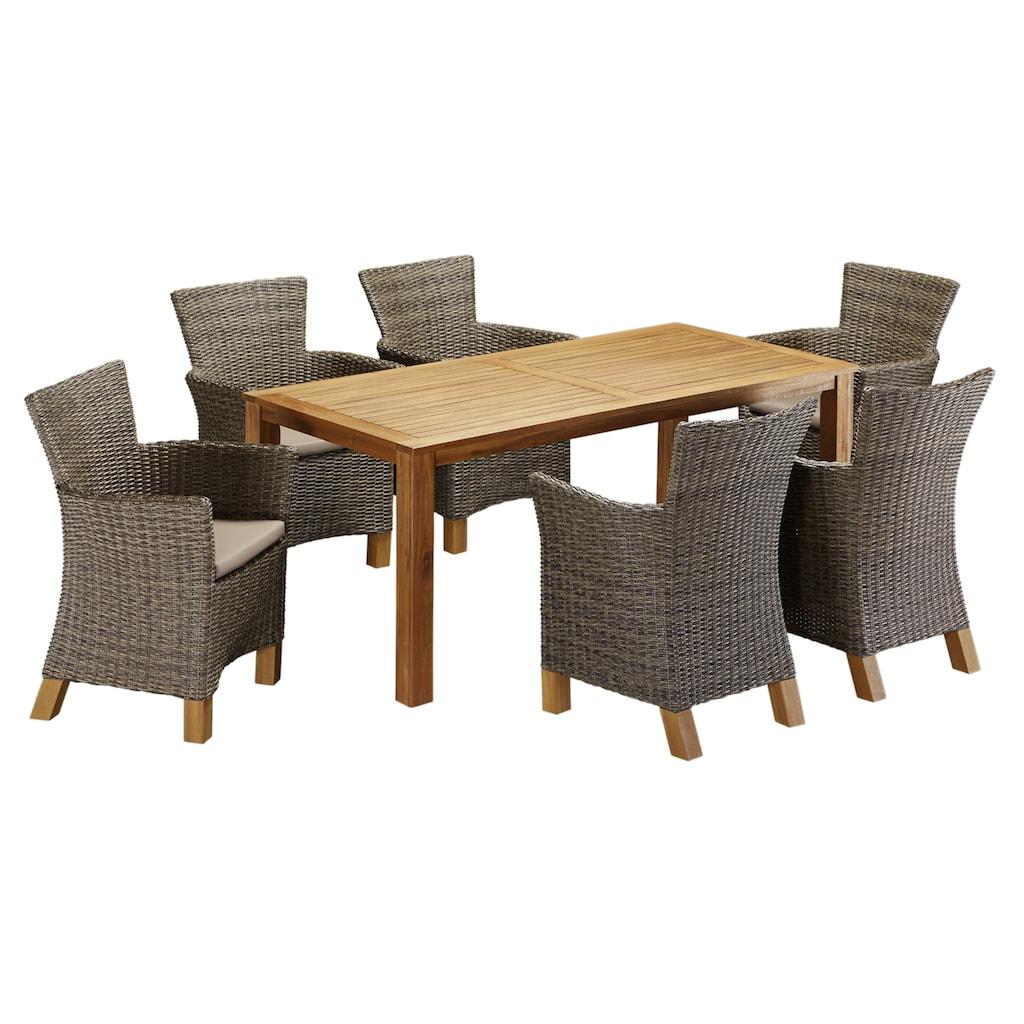 MERXX Gartenmöbelset »Toskana«, (13 tlg.), 6 Sessel, Tisch 185x90cm, Polyrattan/Akazie