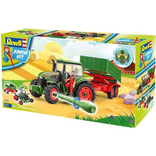 """Revell® Modellbausatz """"Junior Kit Traktor & Anhänger, grün mit Figur"""", Maßstab 1:20, (Set)"""