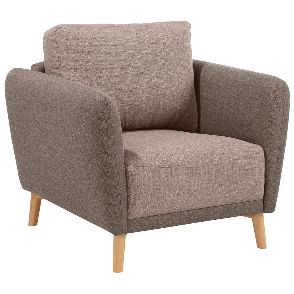 Home affaire Sessel »Ida«, mit Holzfüßen und Armlehnen-Polsterung