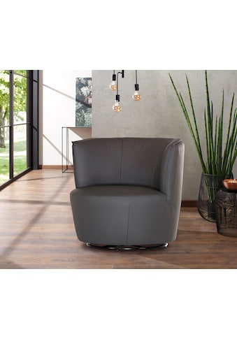 Home affaire Drehsessel »Lumber«, 360° drehbar in toller Lederqualität, Drehteller aus Metall kaufen