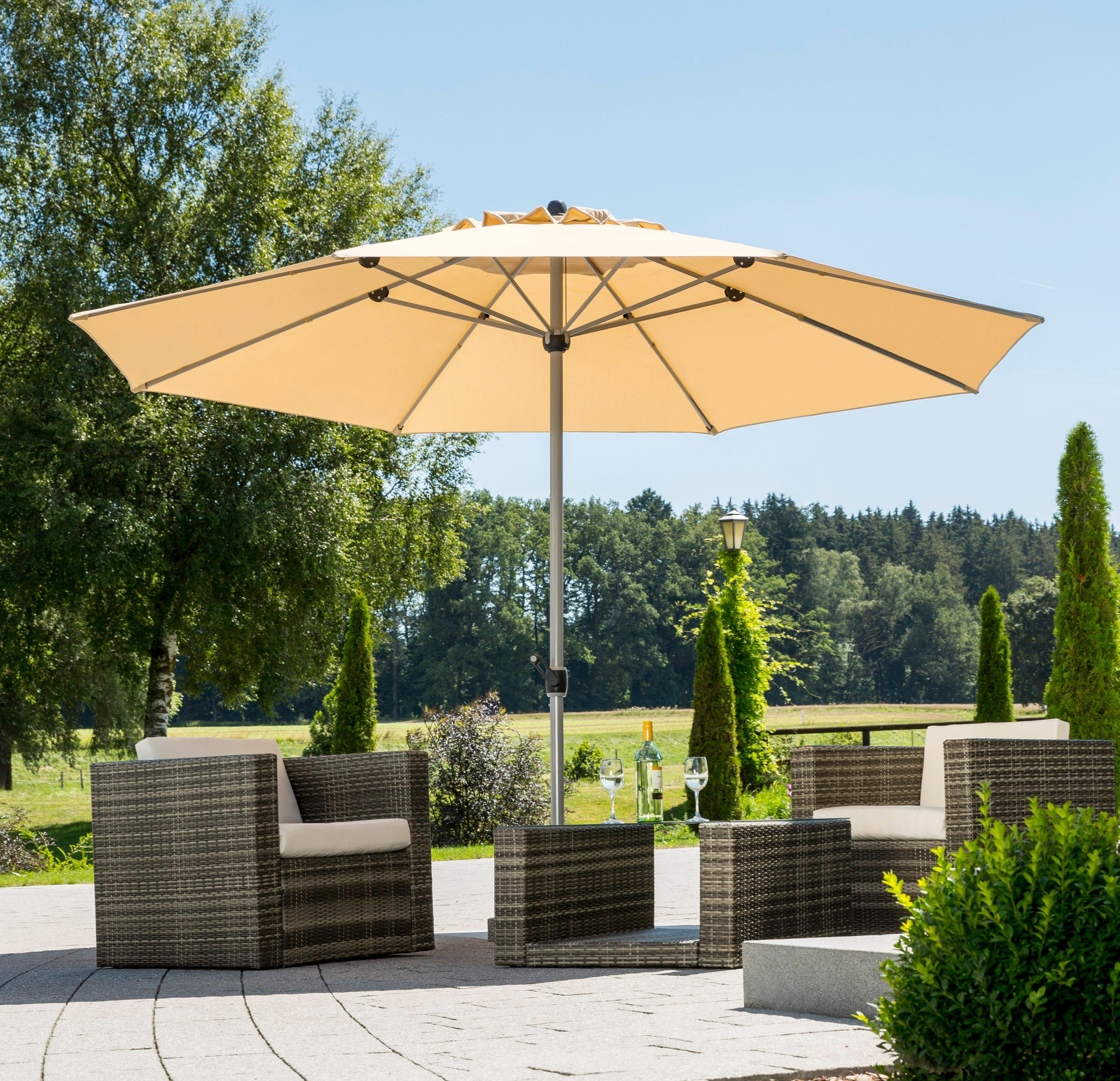 Schneider Schirme Sonnenschirm Gemini, ohne Schirmständer beige Sonnenschirme -segel Gartenmöbel Gartendeko