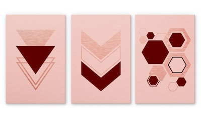 Wall-Art Mehrteilige Bilder »Geometrische Figuren Rosa«, (Set, 3 St.) kaufen