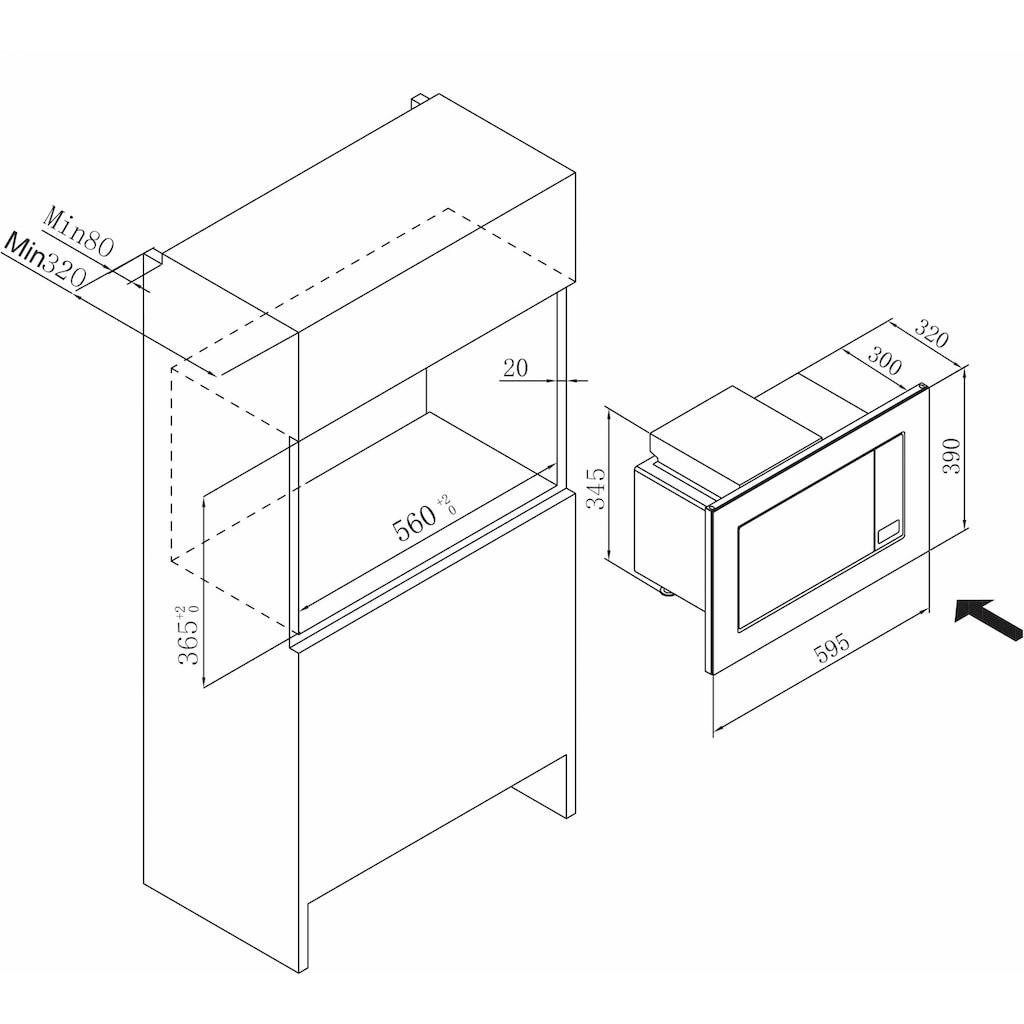 Amica Einbau-Mikrowelle »EMW 13185 E«, Grill-Mikrowelle, 1800 W, digitaler Timer