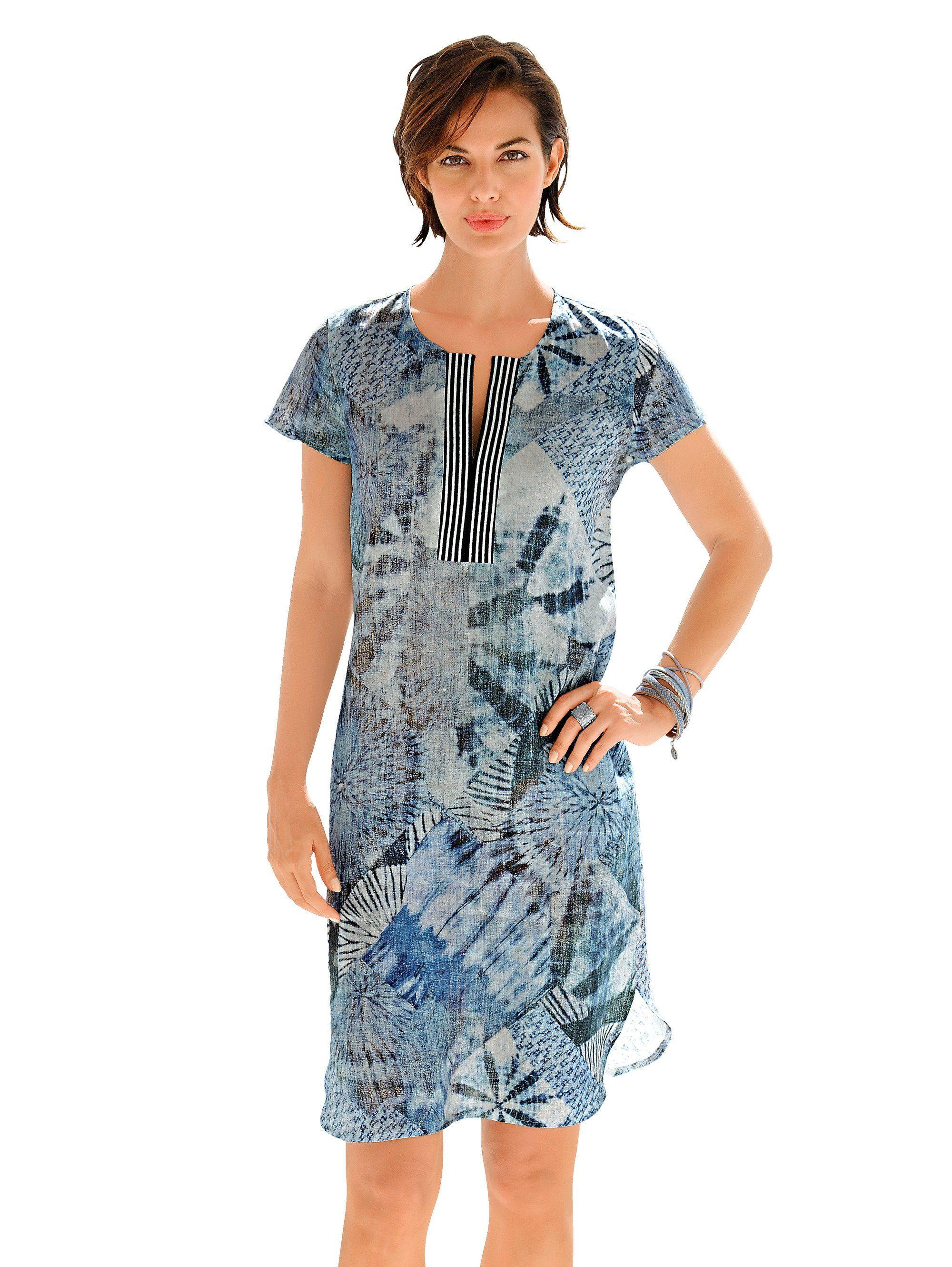 Alba Moda Leinenkleid in ausgefallenem Druckdessin
