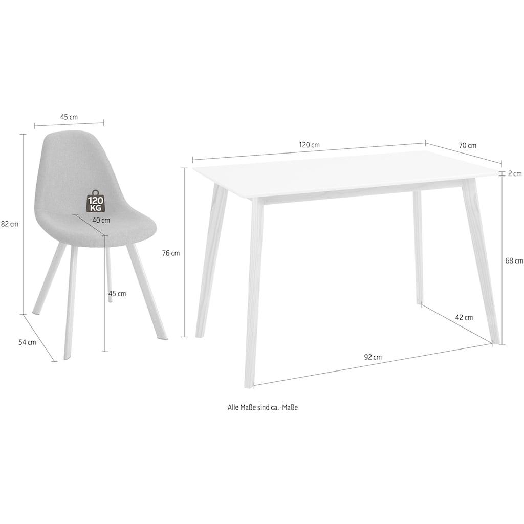INOSIGN Essgruppe »Veneto«, (5 tlg.), aus massivem Kiefernholz, bestehend aus Cody Esstisch 120 cm und 4er Set Veneto Stühle