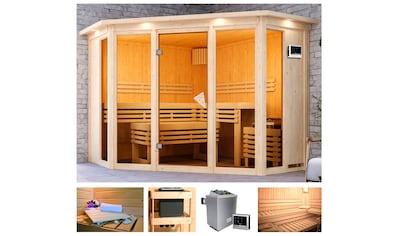 KARIBU Sauna »Akiko 2«, 245x245x202 cm, 9 kW Ofen mit ext. Steuerung, Dachkranz kaufen