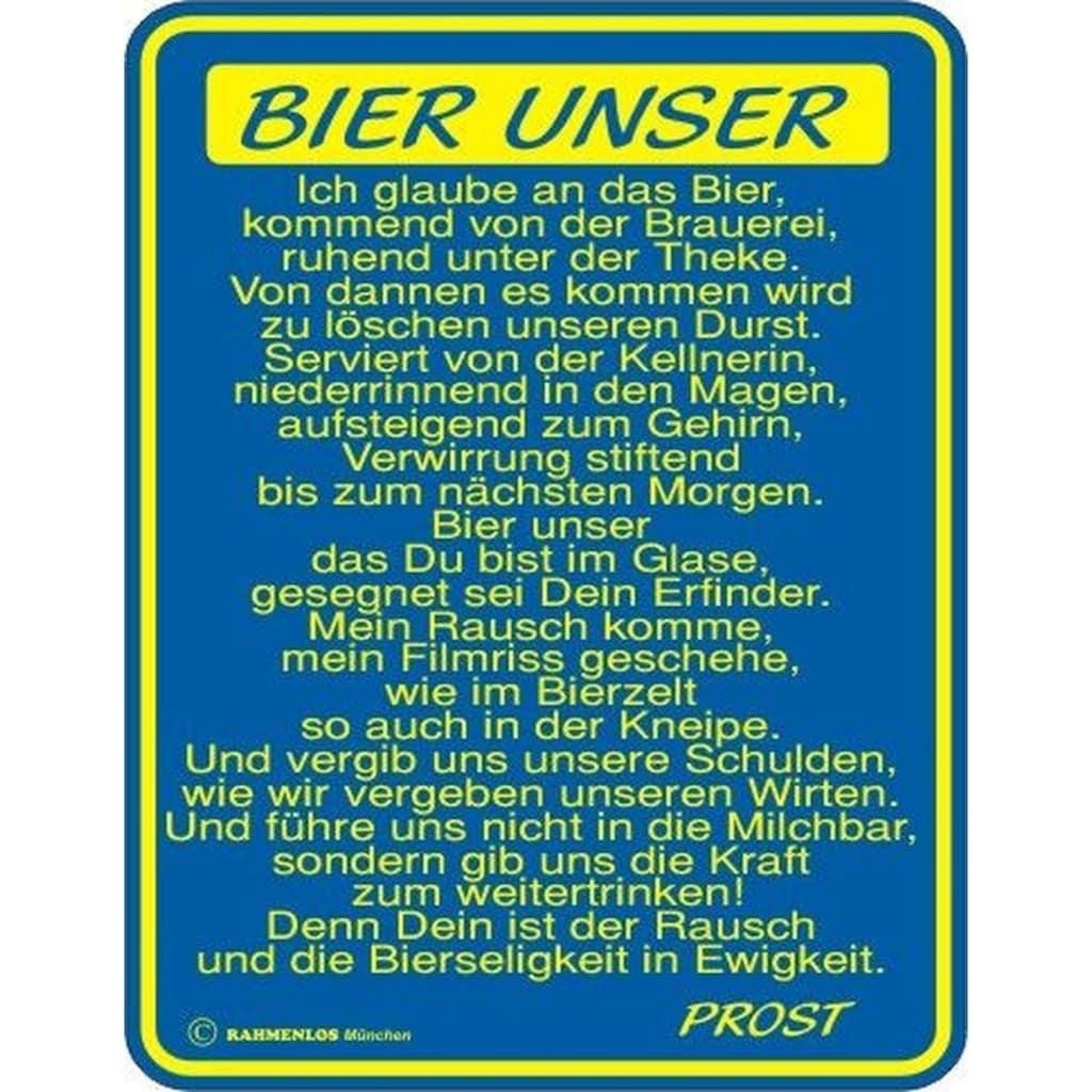 Rahmenlos Blechschild für den Bier-Liebhaber