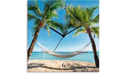 Artland Wanduhr »Palmenstrand Karibik mit Hängematte«, lautlos, ohne Tickgeräusche,... kaufen