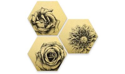 Wall-Art Mehrteilige Bilder »Florales Blumen Set Goldeffekt«, (Set, 3 St.) kaufen