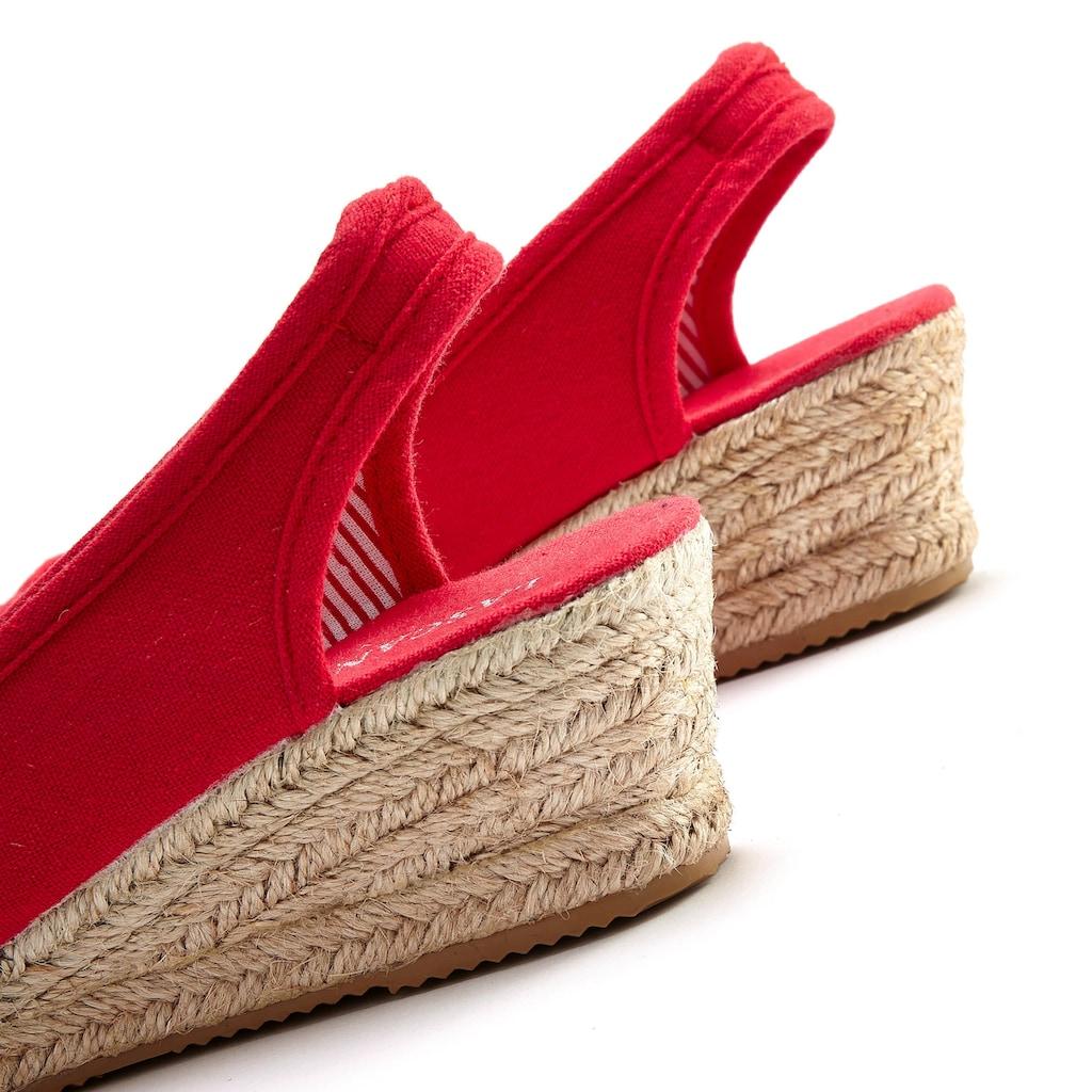 LASCANA Sandalette, aus Textil mit Keilabsatz