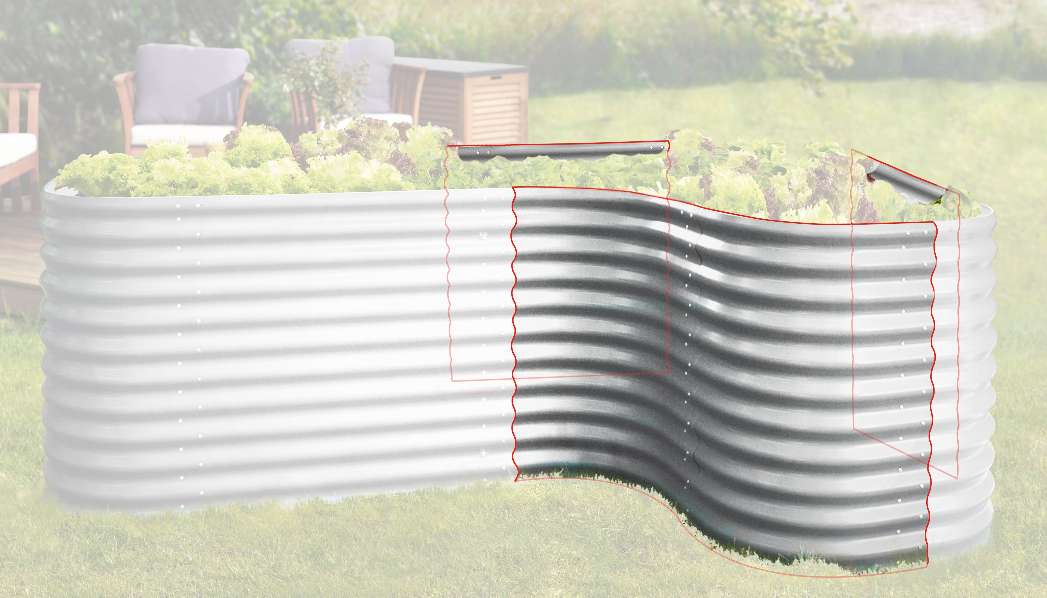 Hochbeet-Lxbxh-80X80X86-Cm-Aluminiumfarben-Vitavia-Hochbeete-Zubehoer Indexbild 4