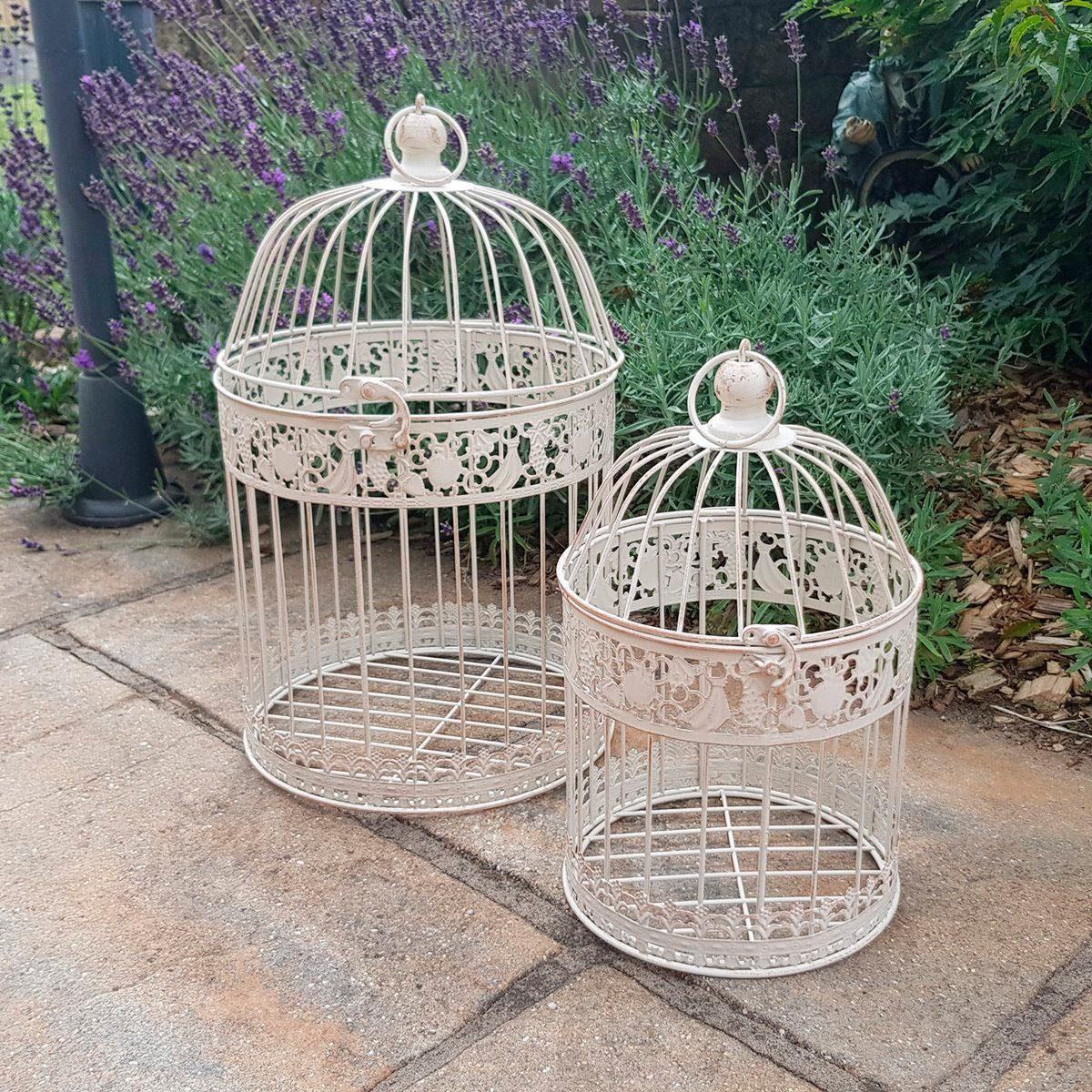 Ambiente Haus Vogelkäfig, 2er Set Outdoor geeignet weiß Vogelkäfig Tierbedarf