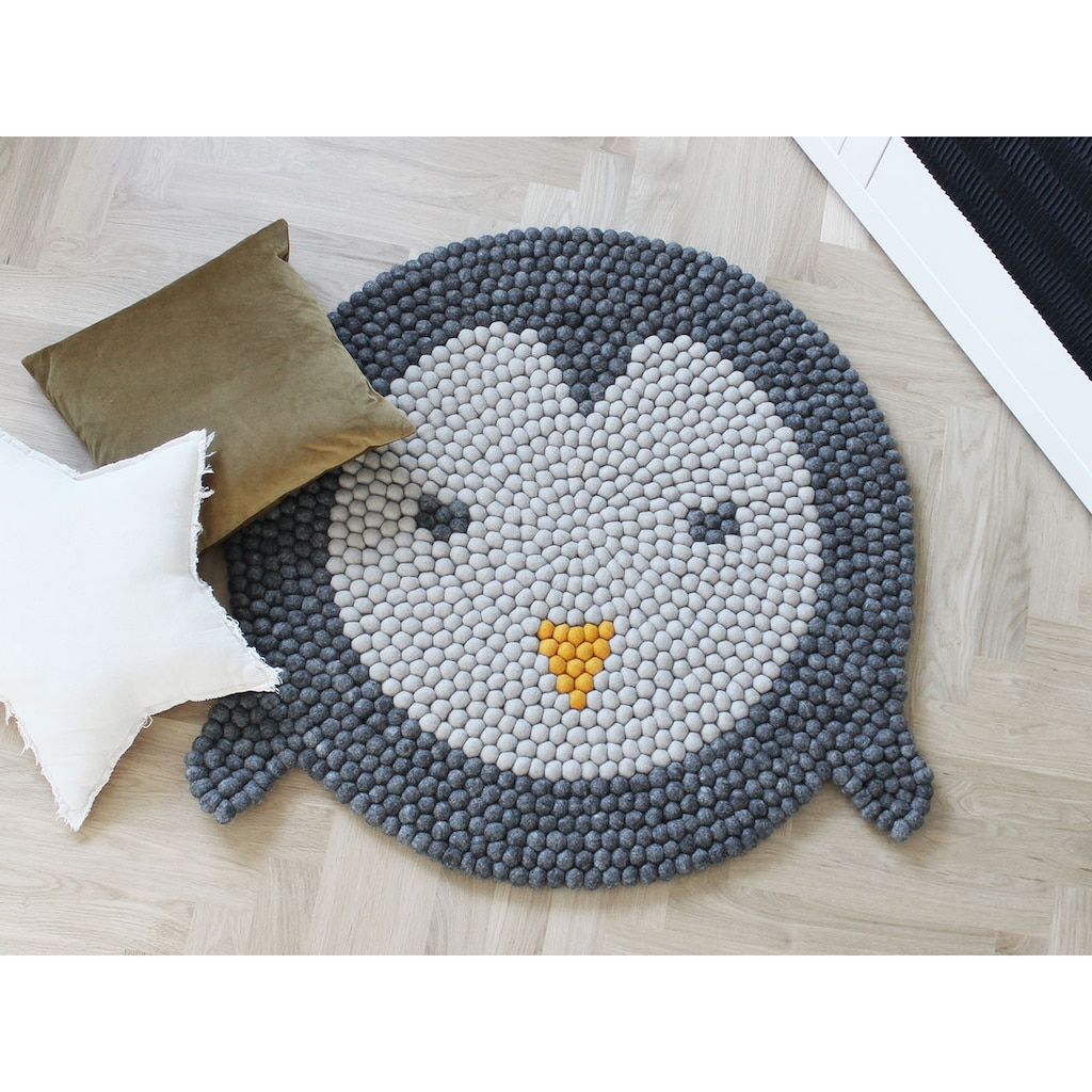 Wooldot Kinderteppich »Pinguin«, rund, 23 mm Höhe, Filzkugelteppich, 100 % Wolle, Handarbeit
