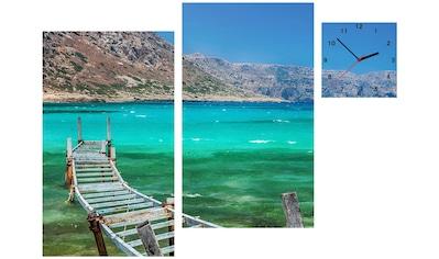 Conni Oberkircher´s Bild »Balos Bay«, Meer, (Set), mit dekorativer Uhr kaufen