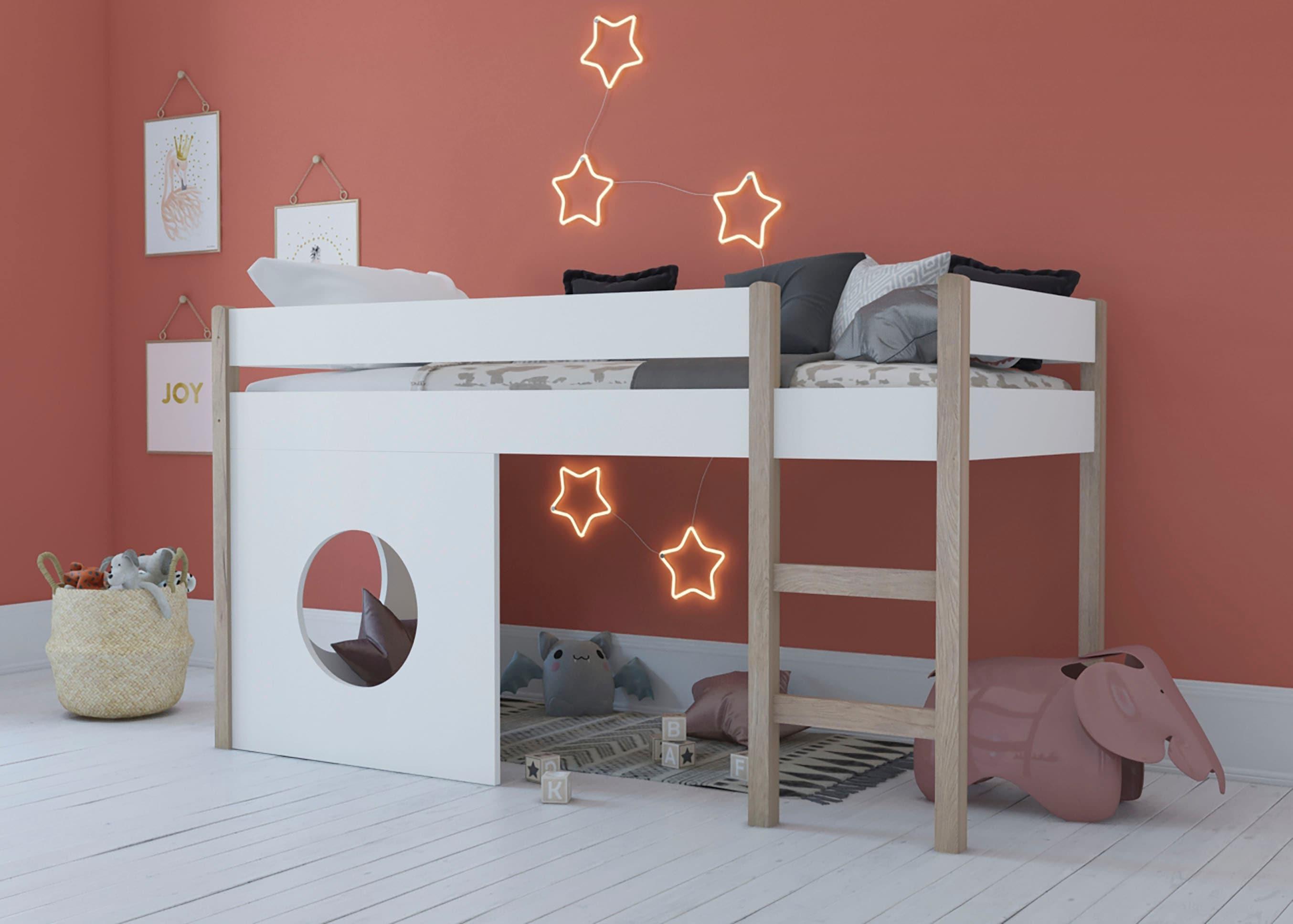 Lüttenhütt Etagenbett, im Scandic Look weiß Kinder Etagenbett Kinderbetten Kindermöbel
