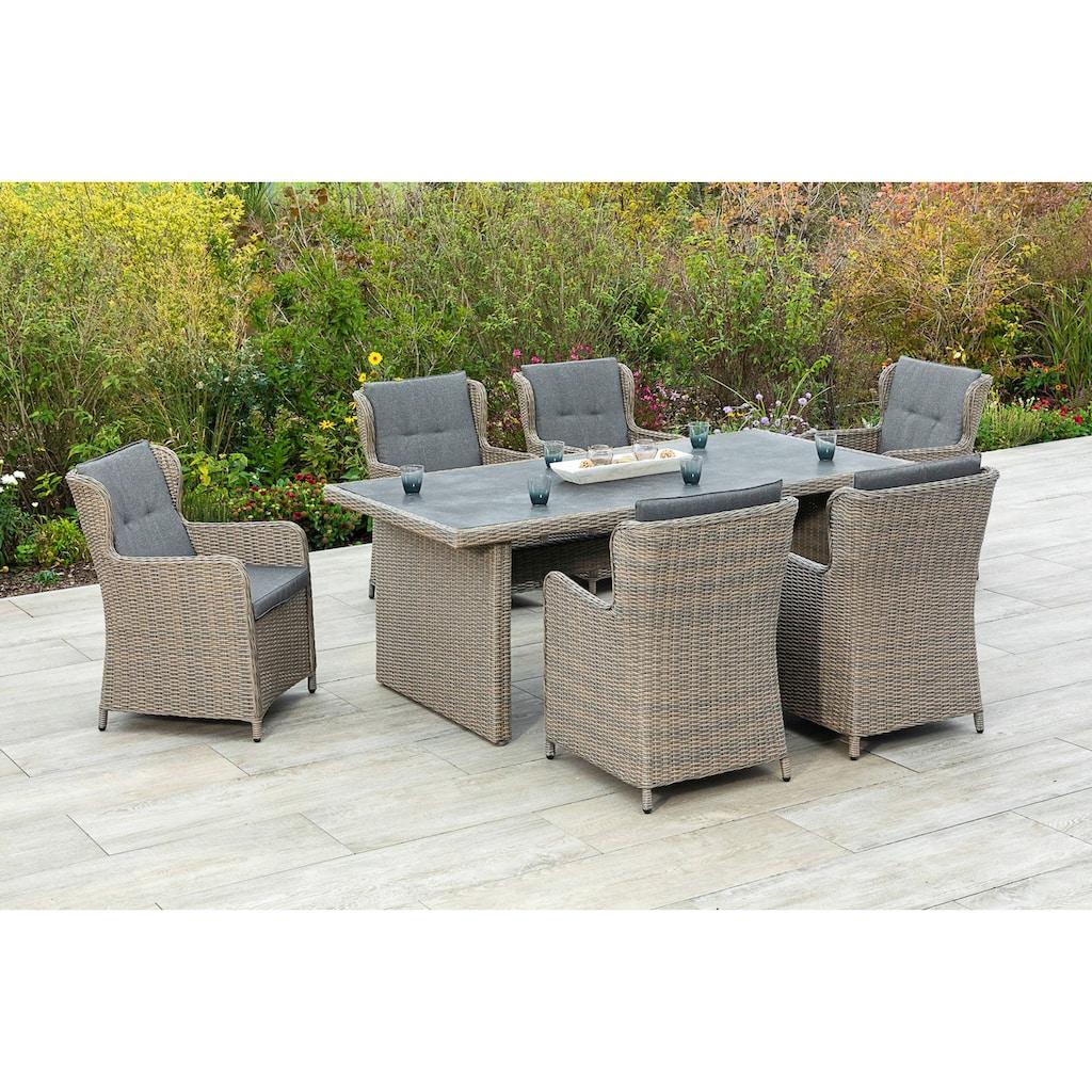 MERXX Gartenmöbelset »Ostiano«, (7 tlg.), 6 Sessel mit Tisch