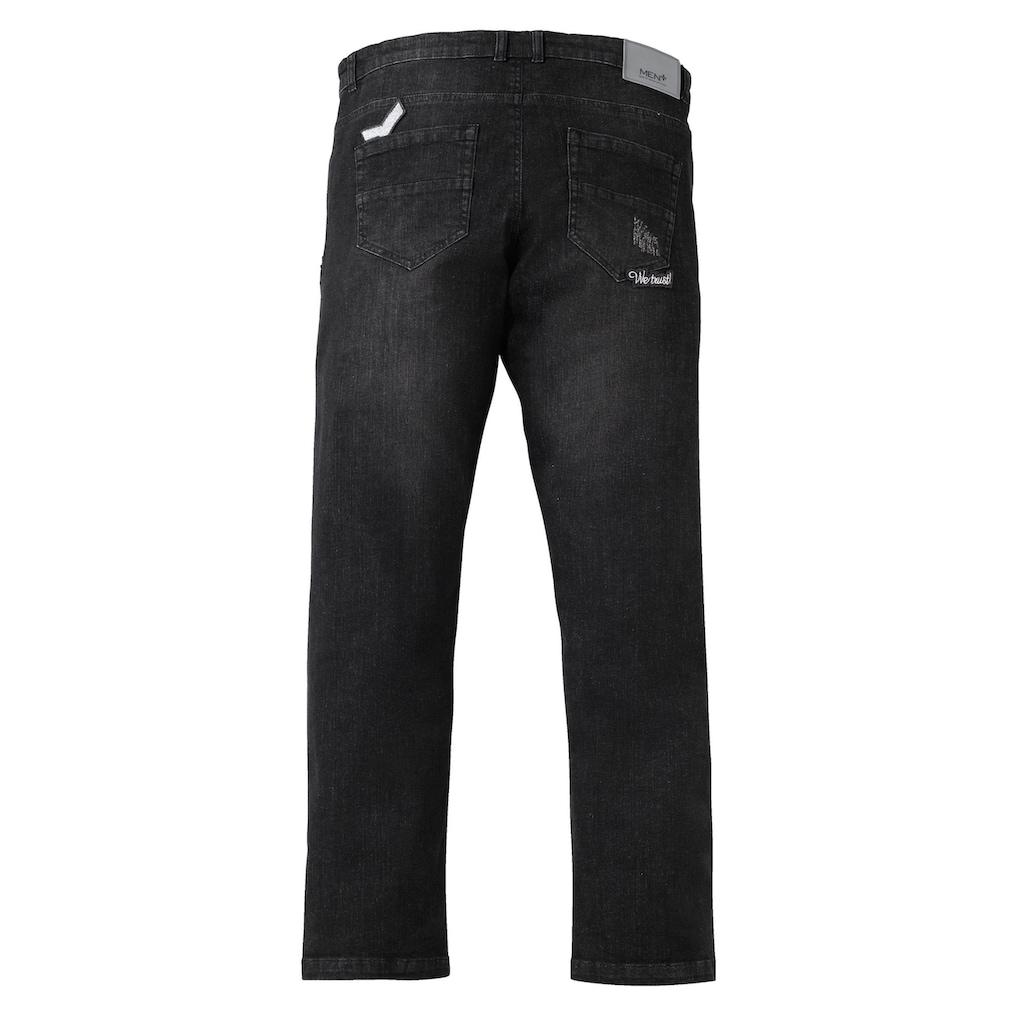 Men Plus by Happy Size Tapered Jeans mit Destroyed-Effekt und Badges