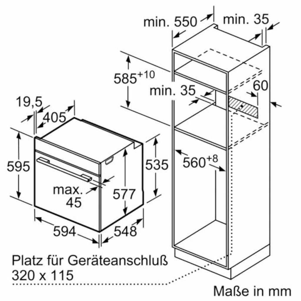 SIEMENS Pyrolyse Backofen »HB674GBS1A+«, HB674GBS1A+, mit Teleskopauszug nachrüstbar, Pyrolyse-Selbstreinigung, mit activClean