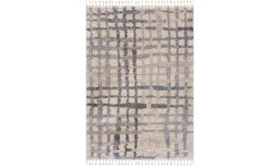 Sanat Hochflor-Teppich »Versay 1504«, rechteckig, 30 mm Höhe, Shaggy Teppich mit aufwendigen Fransen, Wohnzimmer kaufen