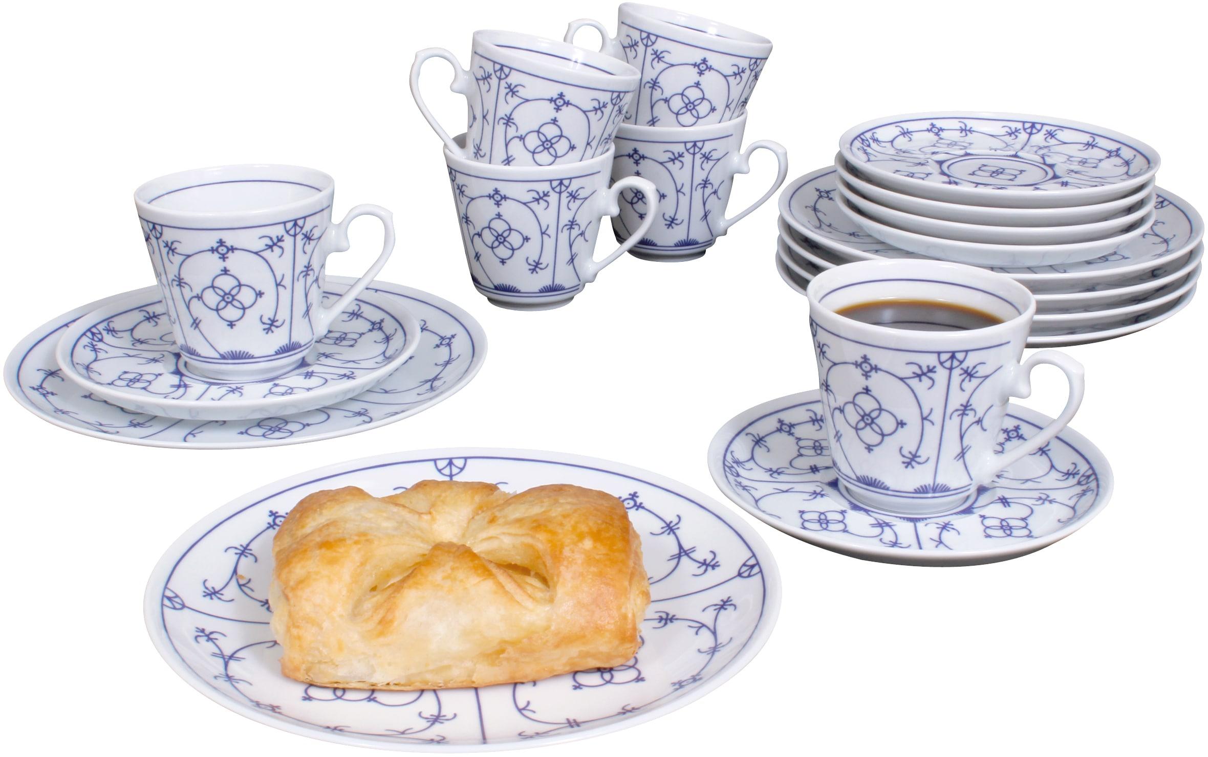 Eschenbach Kaffeeservice Winterling - Indischblau (18-tlg.), Porzellan weiß Geschirr-Sets Geschirr, Tischaccessoires Haushaltswaren
