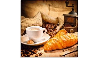 Artland Glasbild »Kaffeetasse mit Croissant« kaufen