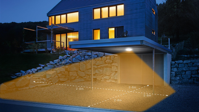 steinel LED Außen-Deckenleuchte DL Vario Quattro LED, LED-Board, Warmweiß, 360° Bewegungsmelder, Zeit- und Dämmerungsschwelle einstellbar