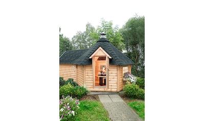 WOLFF FINNHAUS Set: Grillkota »9 de luxe«, BxT: 426x630 cm, mit Sauna - Anbau und schwarzen Schindeln kaufen