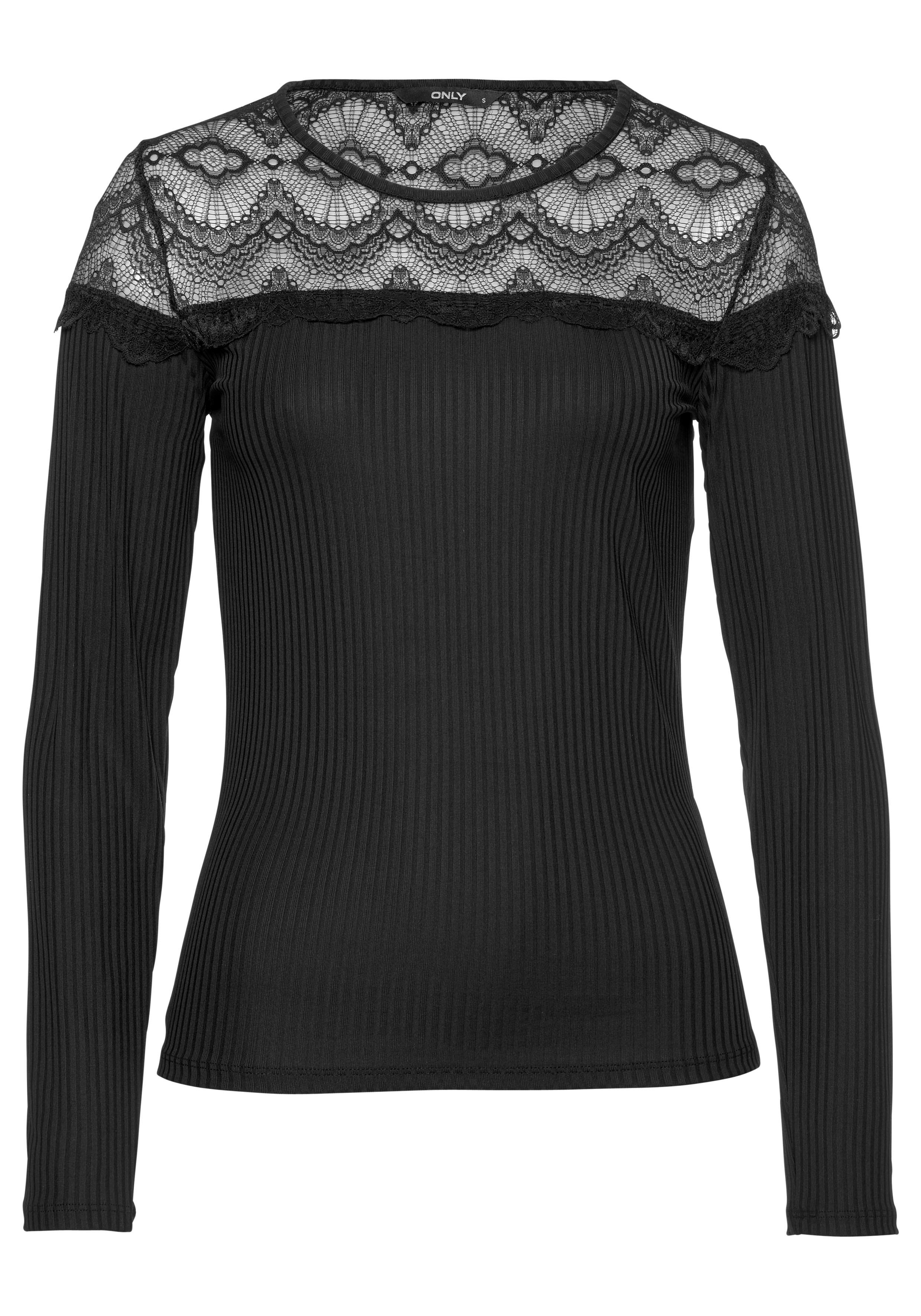 Only Spitzenshirt VIVIAN | Bekleidung > Shirts > Spitzenshirts | Schwarz | Only