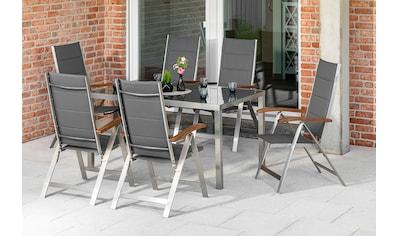 MERXX Gartenmöbelset »Ferrara«, (7 tlg.), 6 Klappsessel mit Tisch kaufen