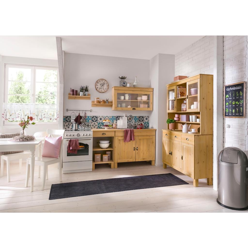 Home affaire Küchenbuffet »Oslo«, 125 cm breit, aus massiver Kiefer, mit 2 Glastüren, Metallgriffe, Landhaus-Optik