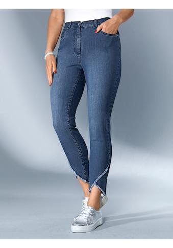 MIAMODA Jeans mit asymmetrischem Fransenabschluss kaufen