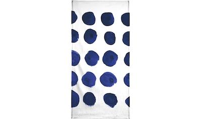 Juniqe Handtuch »Blue Dots«, (1 St.), Weiche Frottee-Veloursqualität kaufen