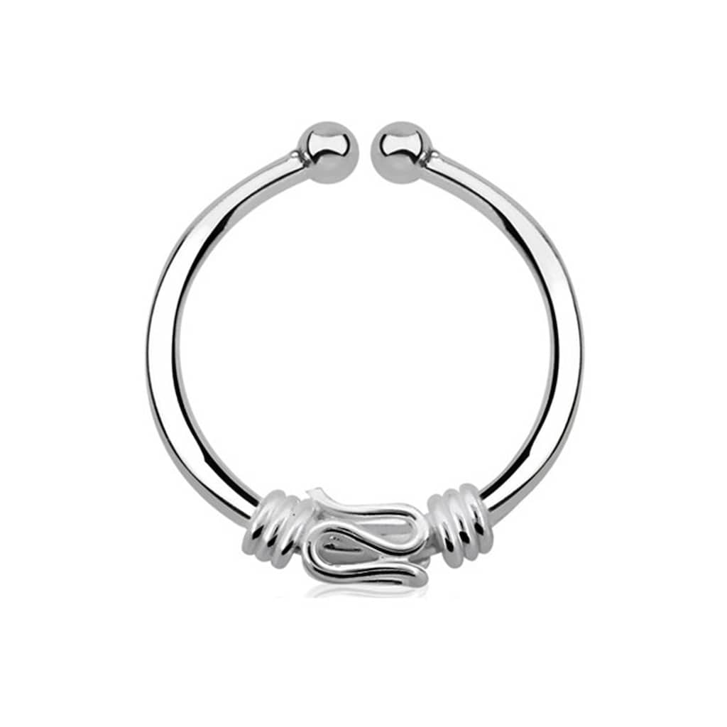 Adelia´s Nasenpiercing »Nasenpiercing Fake Ring Septum silber, Schlange«, Klemmring aus 925 Silber